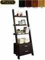 Wooden Black Ash 3 Shelf Leaning Ladder Bookshelf With Drawers
