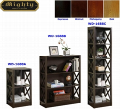 2, 3, 5 Tiered X Shaped Side Panels Modern Book Storage Shelves