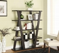 Wooden Inverted-Support 5 Tier Leaning Ladder Book Shelf