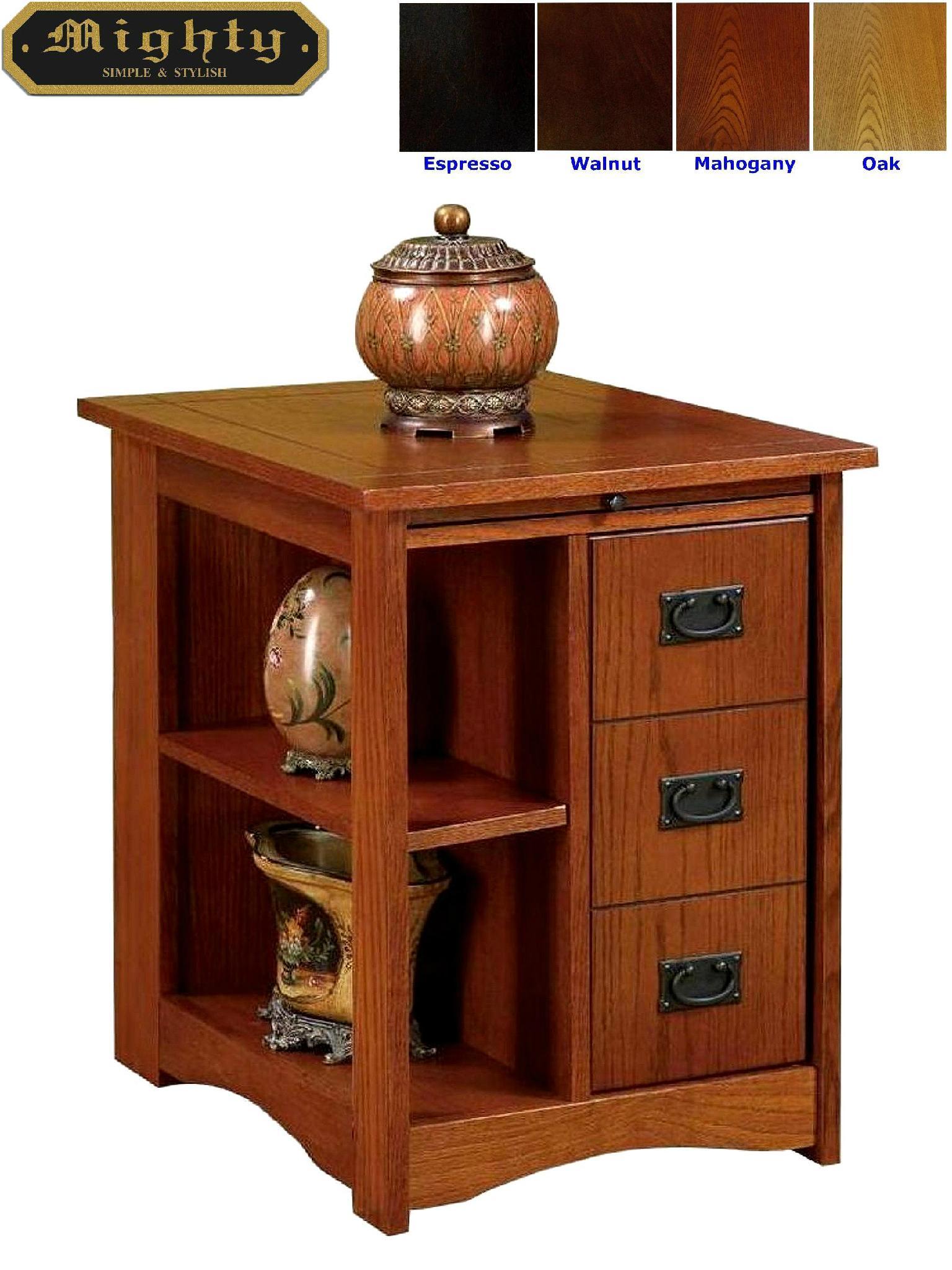 Wooden 3 Drawers Oak Magazine Rack Living Room End Tables