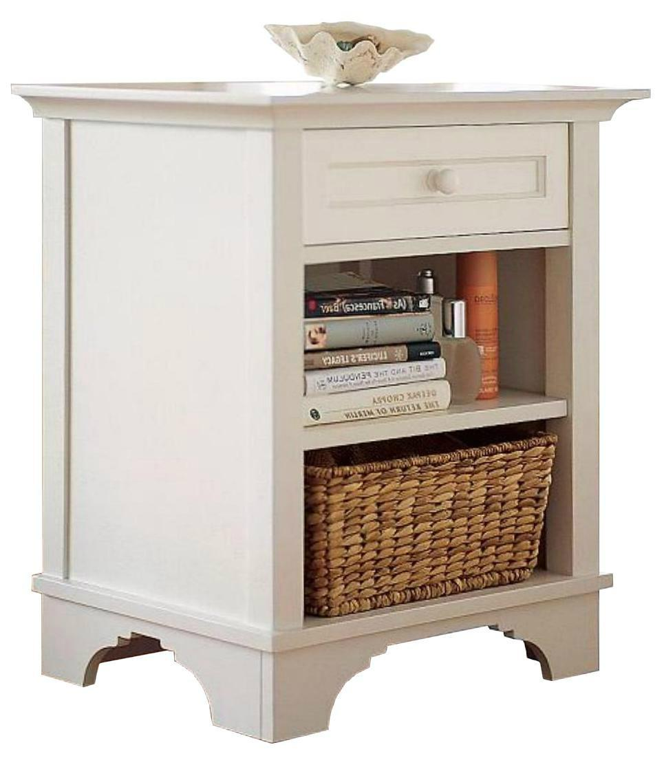 Wooden one drawer sofa side small white end table wd