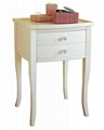 Wooden white classic tall side table with drawers wd for Tall white side table