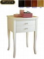 Wooden White Classic Tall Side Table With Drawers