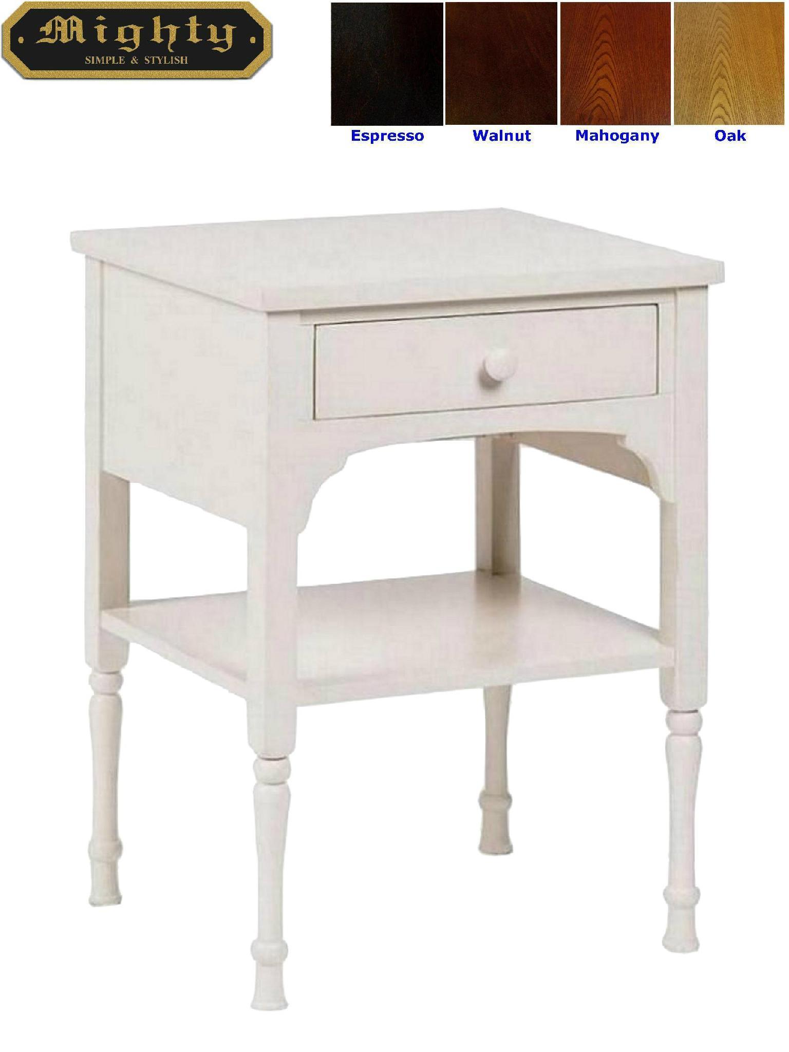 Slim Bedside Tables: Wooden White One Drawer Slim Modern White Bedside Table