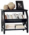 2 Tier Book Holder Slim Living Room Black Console Table