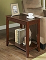 Wooden Espresso wedge modern narrow side table