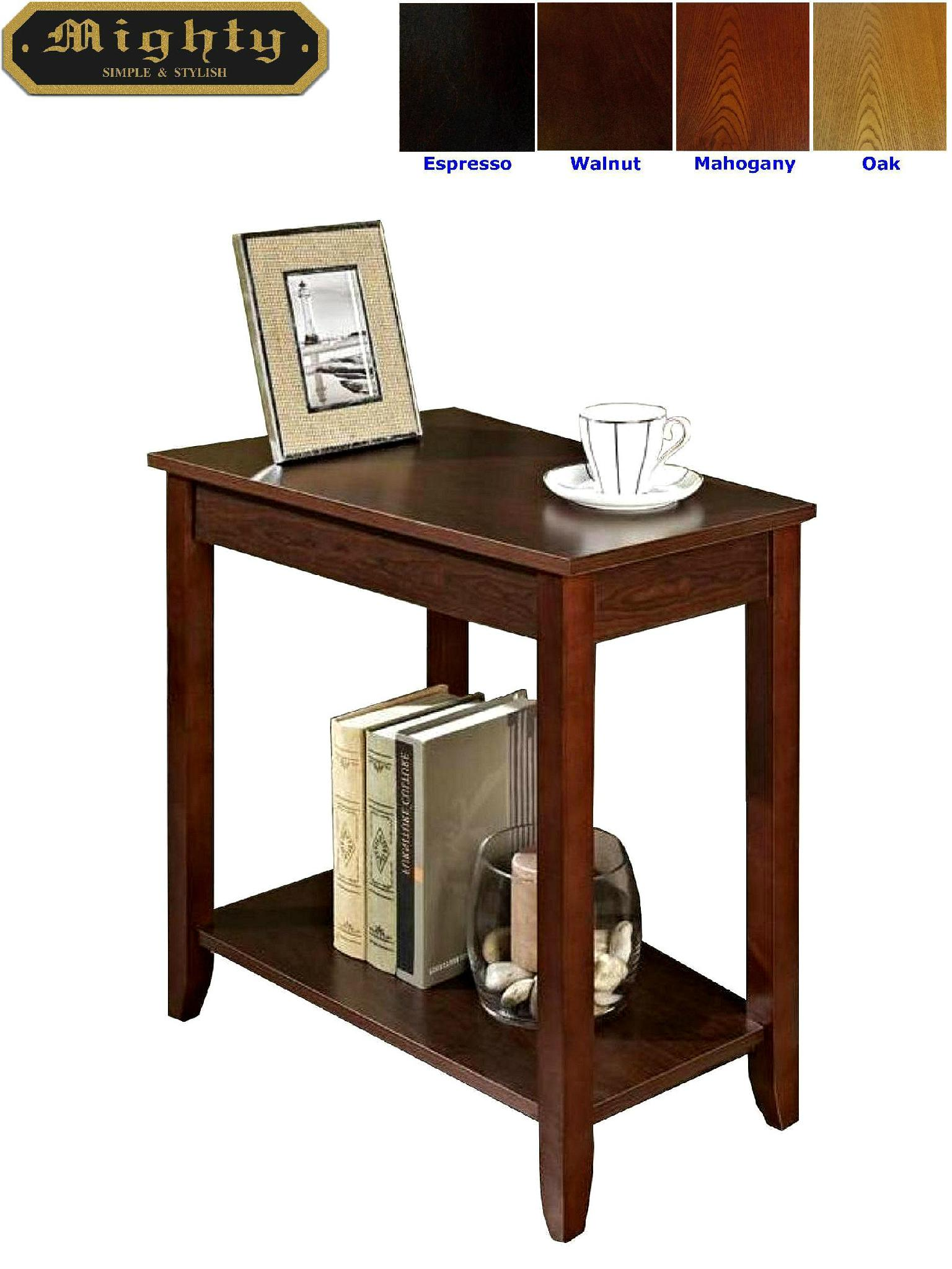 Wooden espresso wedge modern narrow side table taiwan - Narrow side tables for living room ...
