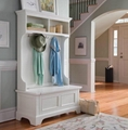 Classic Hall Tree Hallway Modern White Storage Bench