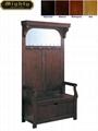 Walnut Finish Hall Tree Entry Hallway Storage Bench Seat