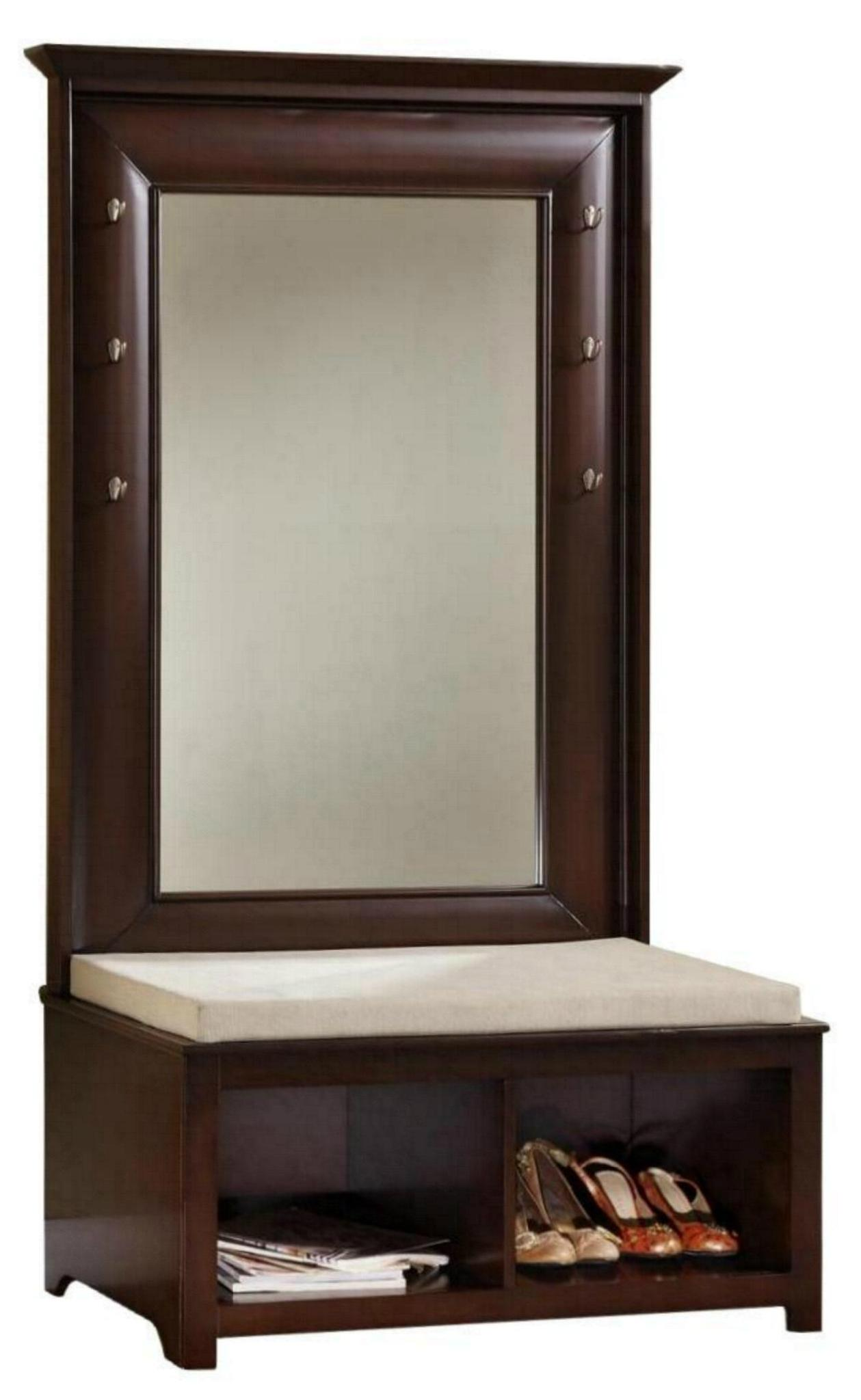 Living Room Mirror Hall Tree Entryway Wood Storage Bench Wd 2542 Mighty Taiwan Manufacturer