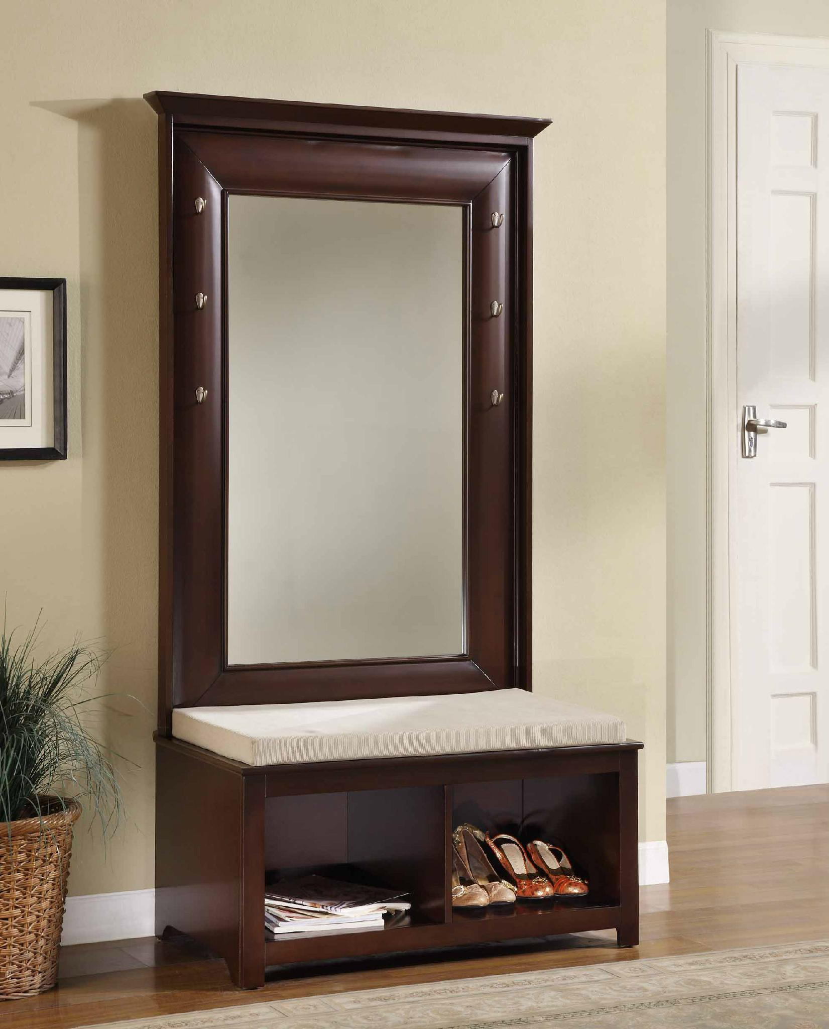 Living Room Mirror Hall Tree Entryway Wood Storage Bench