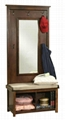 Mirror Hall Tree Entryway Storage Bench With Shoe Storage