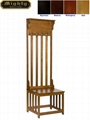 Slat Back Slim Tall Hall Tree Entry Indoor Small Oak Bench