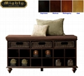 Wooden Entryway 3 Drawer Shoe Storage Bench Seat