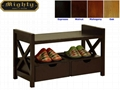Living Room 2 Drawer Entry Bench With Shoe Storage
