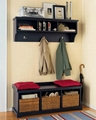 Hallway Wall mounted Coat Rack With Black Storage Entry Bench