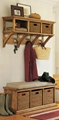 Entrance Wall Mount Coat Rack With Wood Storage Bench