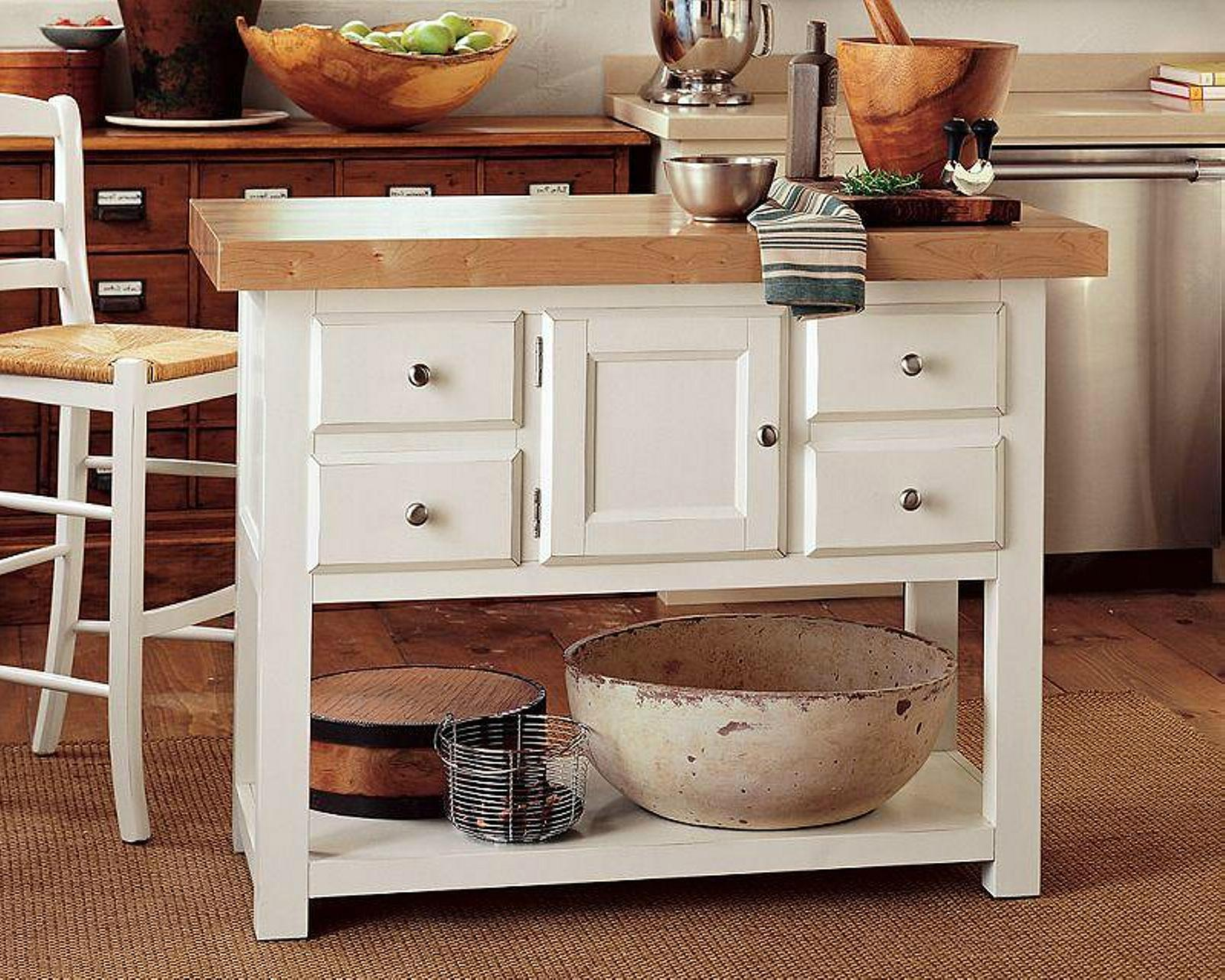 White Butcher Block Kitchen Table : White 4 Drawers Kitchen Prep Island Butcher Block Table - WD-2394 - Mighty (Taiwan Manufacturer ...