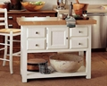 White 4 Drawers Kitchen Prep Island Butcher Block Table