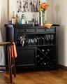 Wooden Black Wine Storage Console Sideboard Buffet Cabinet