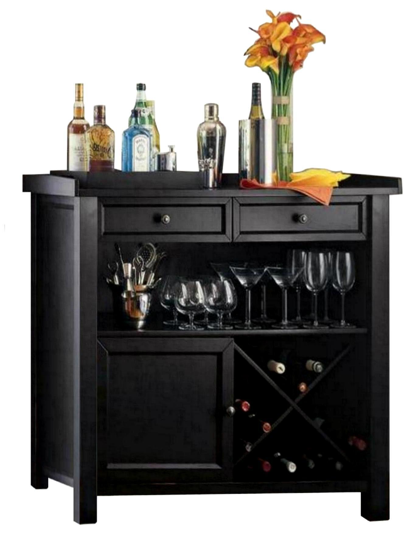 Wooden Black Wine Storage Console Sideboard Buffet Cabinet ...