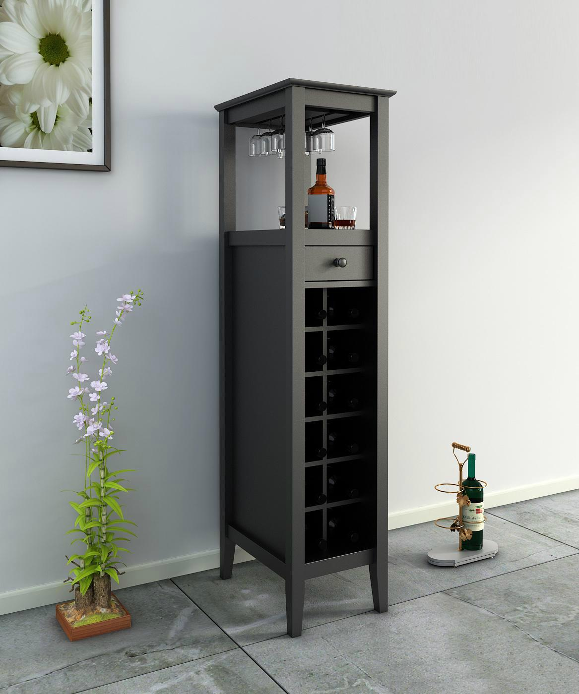 12 Bottles Modern Home Slim Tall Storage Wine Bar Cabinet Tower ...