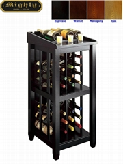 Wooden Black Open Standing Wine Rack Storage
