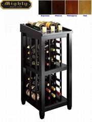 Wooden Black Open Standing Wine Rack Storage