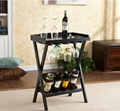 Wooden 4 Bottles And Glass Rack Folding Wine Rack Bar Table