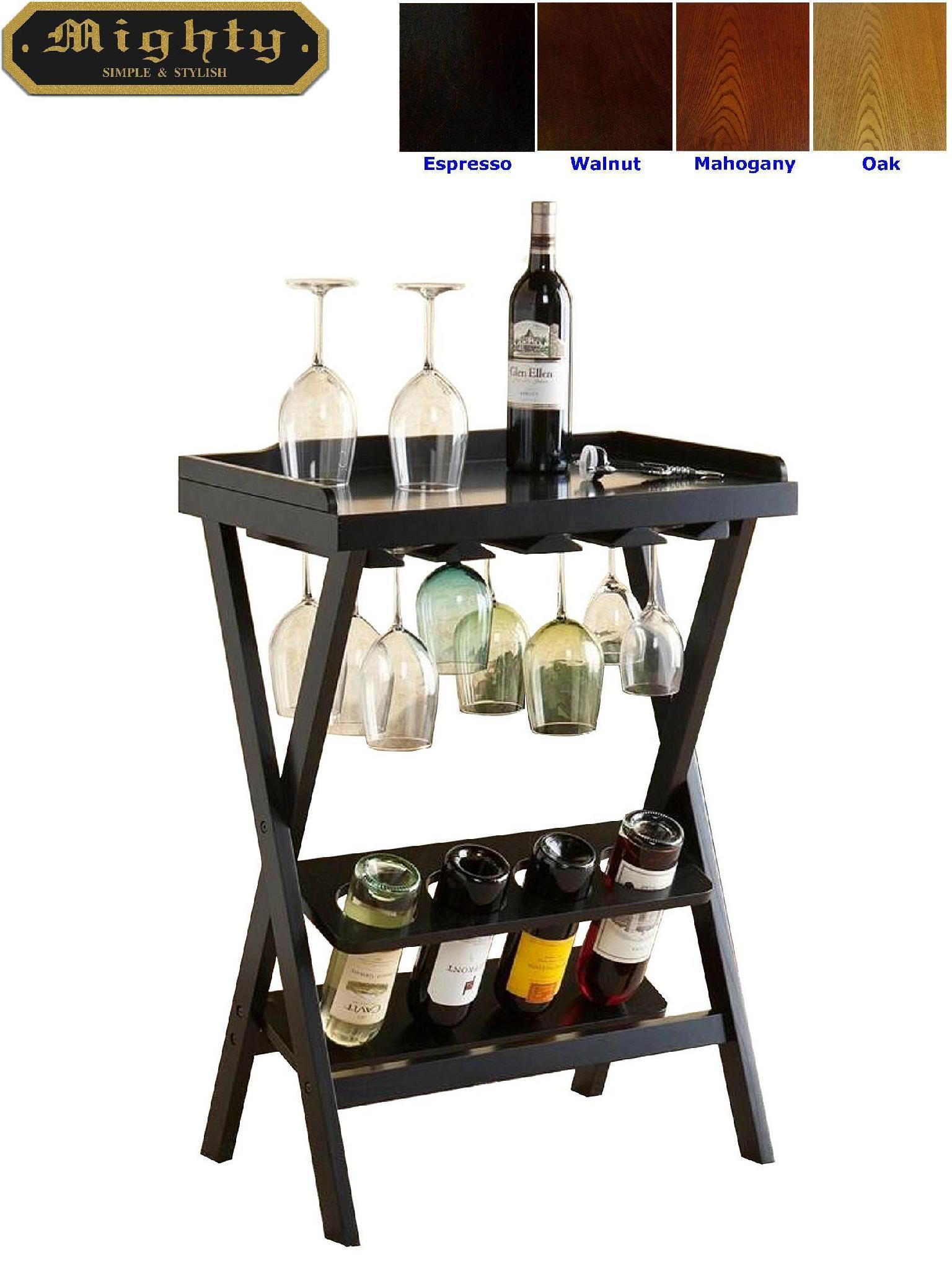 Wooden 4 Bottles And Glass Rack Folding Wine Rack Bar ...