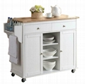 Wood top White Color Mobile Small Kitchen Island Carts