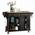 Elegant Natural Wood Top Rolling Kitchen Island Cart