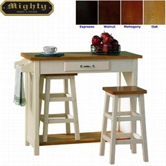Kitchen Bistro Oak Top Breakfast Bar Table Set with 2 Stools