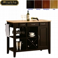 Wood Butcher Block Surface Storage Black Kitchen Island Table