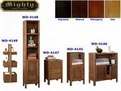Collection of Slat Wood Toilet Rack Bathroom Furniture