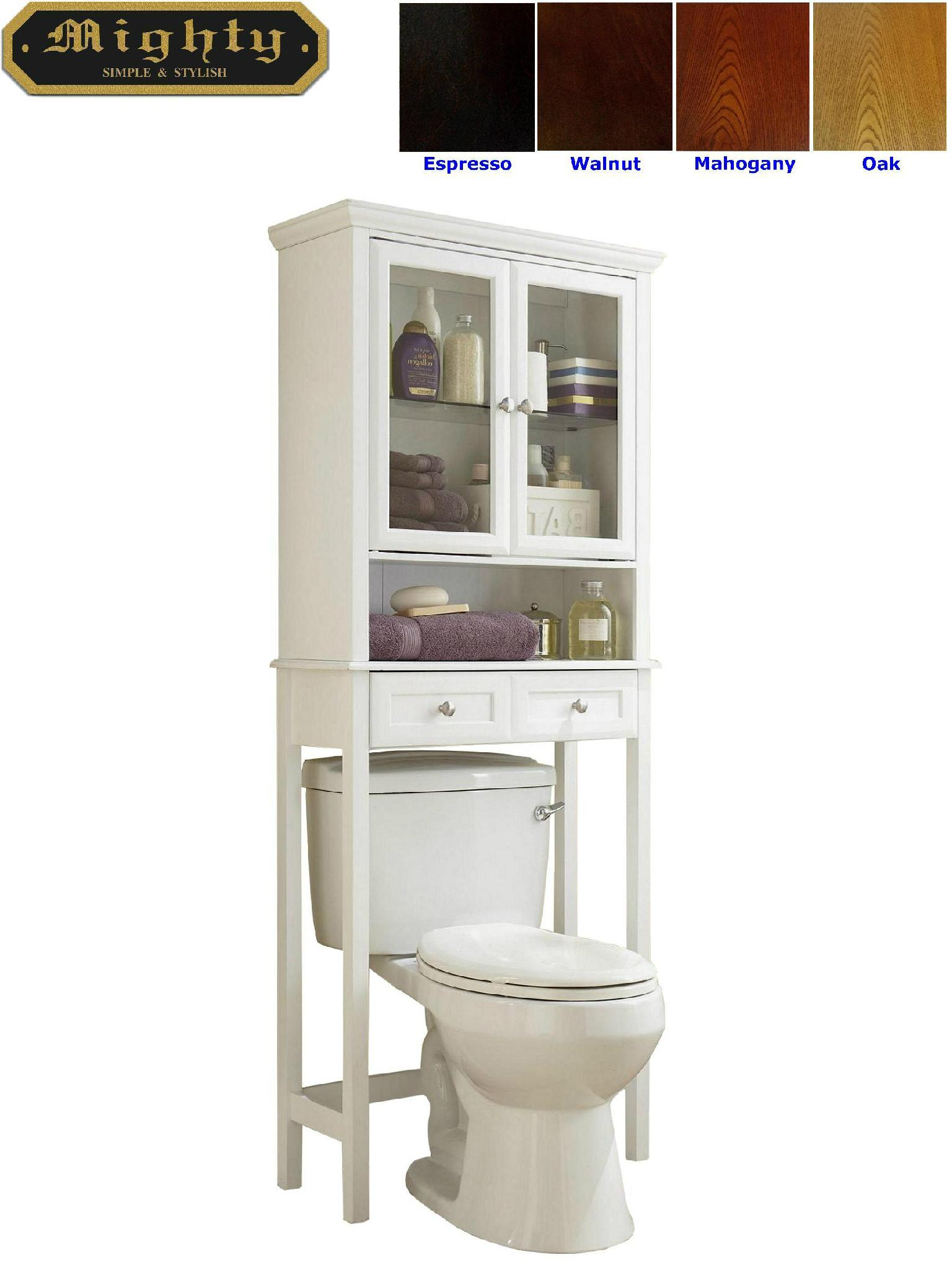 Wooden Two Door Over The Toilet Bathroom Etagere 1