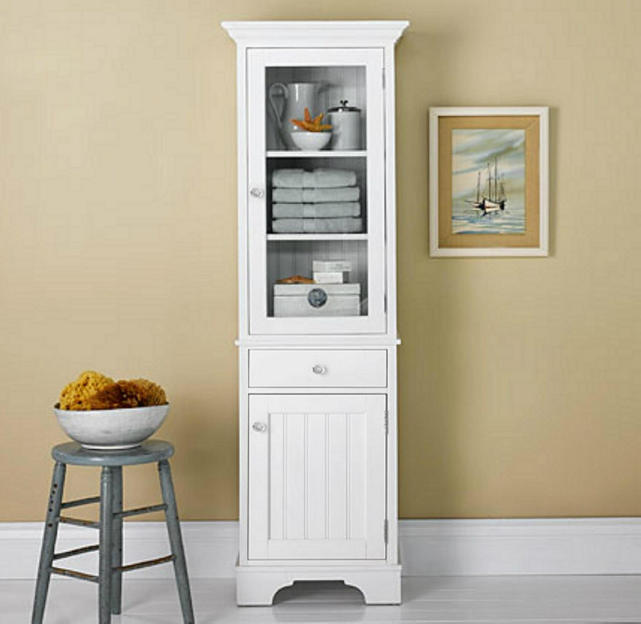 Pinstripe Door Bathroom White Storage Towel Cabinet Units