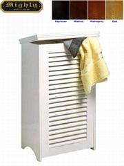 Wooden Lid-Up Linen Baskets Laundry Storage Hamper