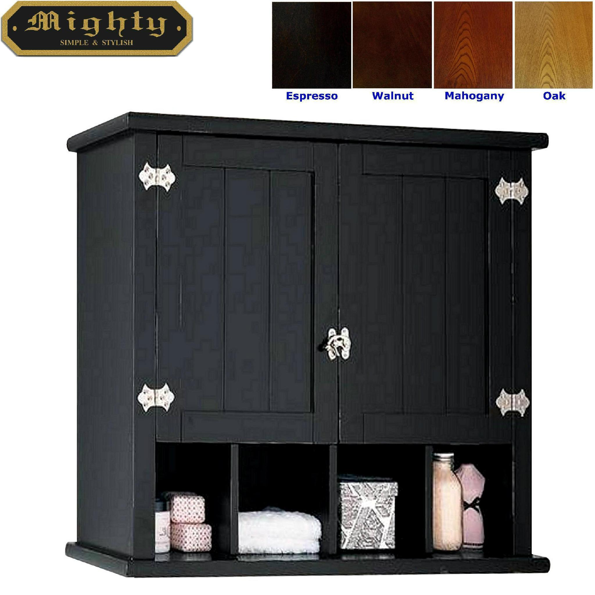 retro two shaker doors black bathroom wall cabinet