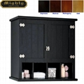 Retro Two Shaker Doors Black Bathroom Wall Cabinet