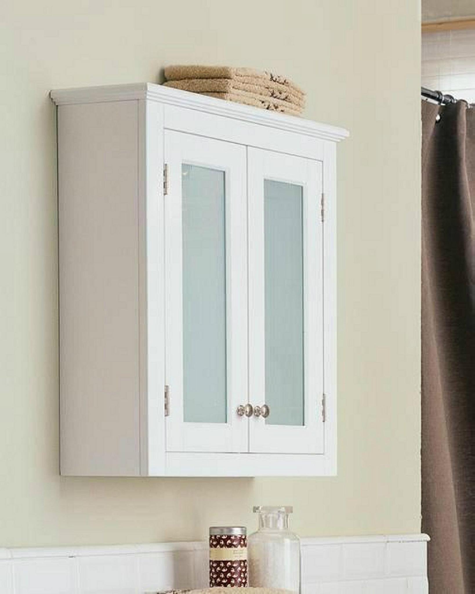 Small White Wall Medicine Cabinet Over The Toilet Storage