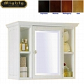 Louvered Door Bathroom Small Linen Storage White Cabinet