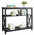 Wooden 2 Tier Rustic Black Sofa Couch Entryway Table