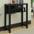 Wooden Squares Ash Black Slim Console Table with Drawer