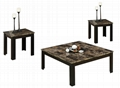 3PCS (1+2) Faux Marble Square Coffee Table