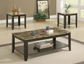 3PCS (1+2) Faux Marble Top Coffee Table Set