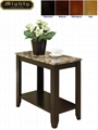 Faux Marble Top Narrow Pedestal Side Table
