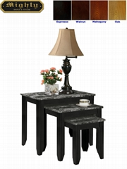 3PCS Grey Faux Granite Marble Nesting Tables