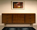 66 inch 9 Drawer Mid Century Retro Walnut Chest Of Drawers