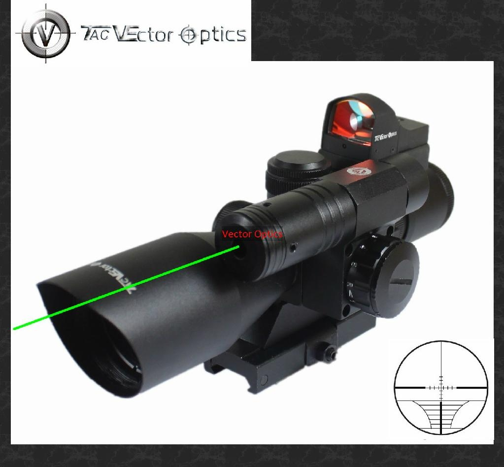 Vector Optics 2.5-10x40 Hunting Green Laser Rifle Scope with Mini Red Dot Sight 1